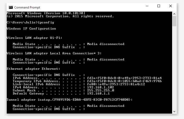 how to run ipconfig in windows 10