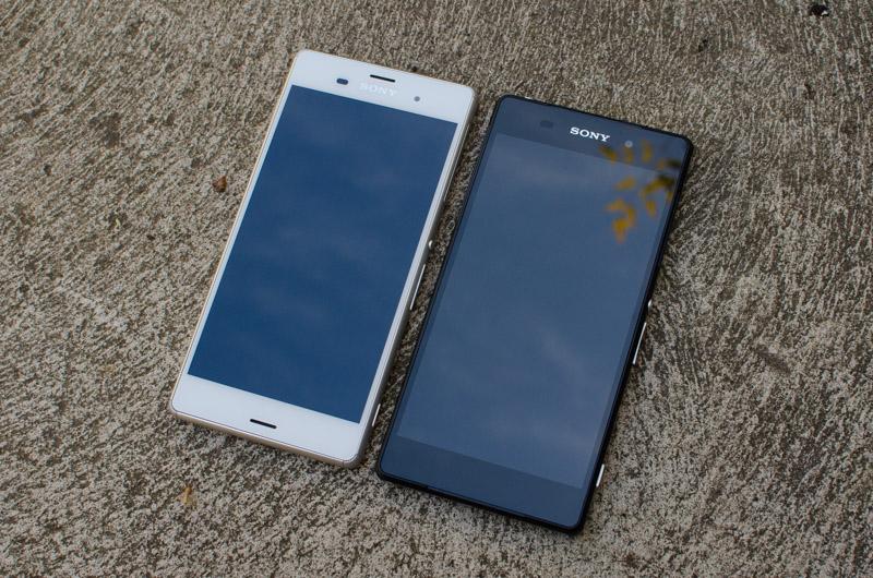 The Xperia Z3 in white next to the Xperia Z2 in blackXperia Z2 Black Vs White
