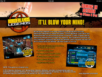apple, iphone, ipad, ios, rumor, borderlands, gaming, leaks, 2k games, mobile computing, gearbox software