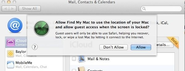 restart safari mac lion find my mac security