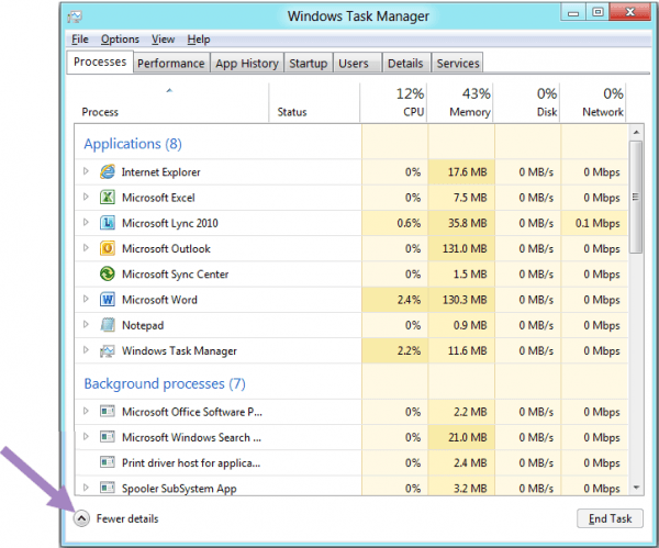 microsoft windows task manager windows 8