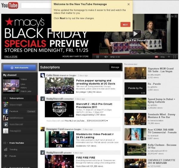 youtube google homepage new layout