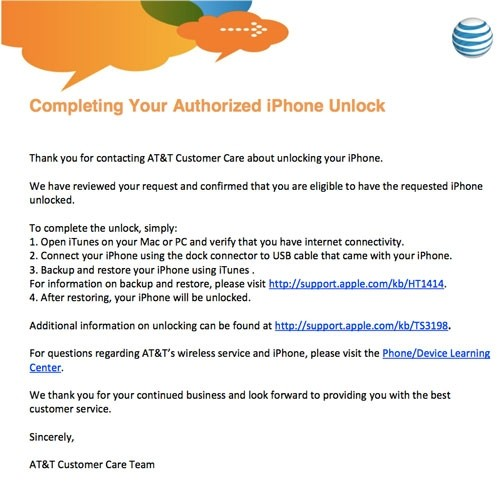 congratulations your iphone has been unlocked at amp t allowing customers to unlock their iphone for 5851