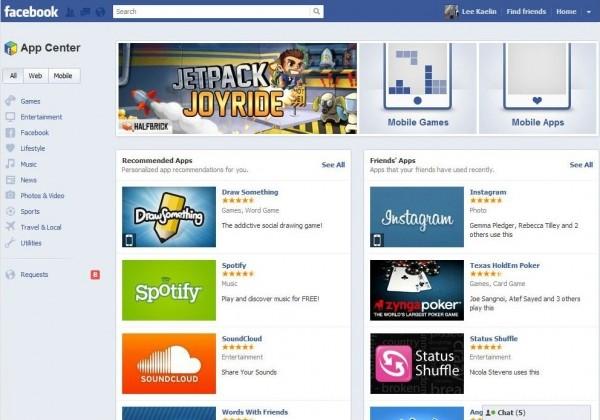 facebook app center android ios