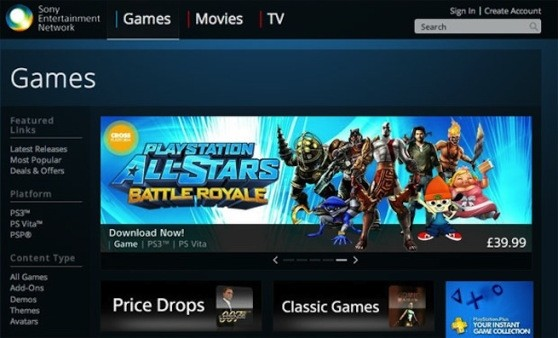 sony playstation web-based store