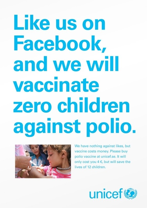 unicef internet facebook likes facebook donation charity likes