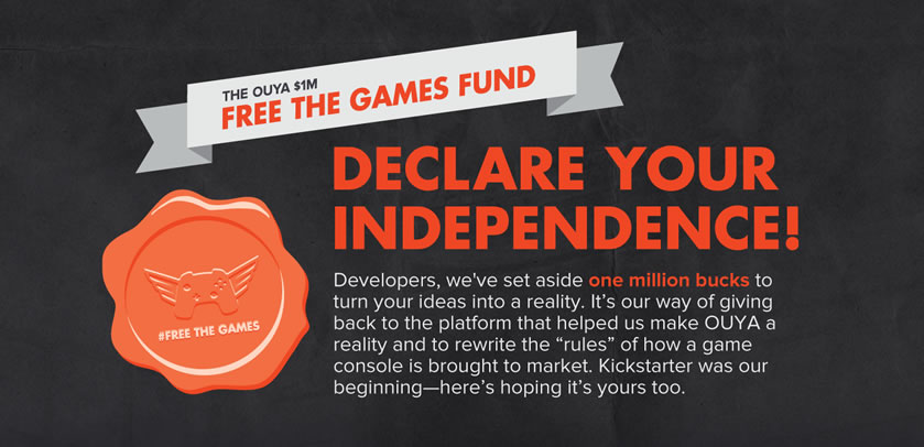 android, contest, kickstarter, developers, ouya, free the games