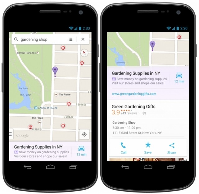 google maps ios android ads maps promoted searches