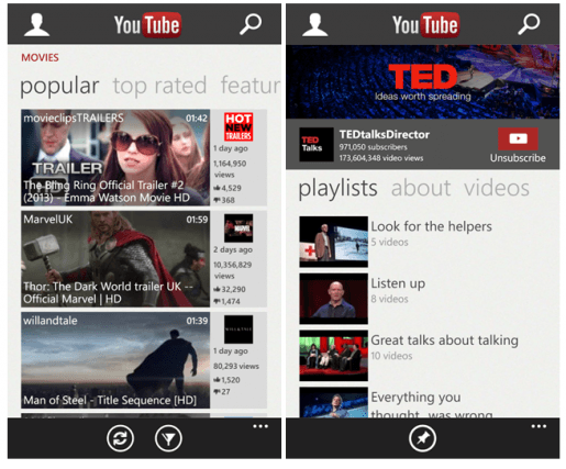microsoft youtube windows phone
