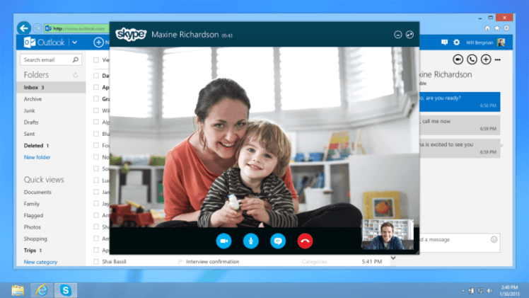 skype outlook microsoft voip outlook.com video calling