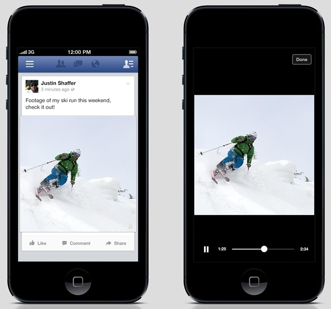 facebook tests silent auto-play user videos mobile feed foreshadowing video ads facebook video ads