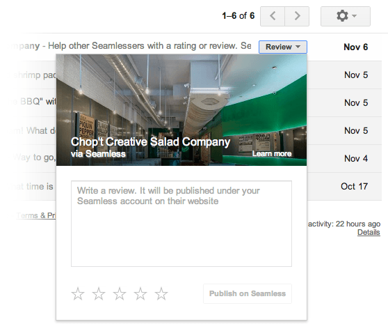 gmail youtube dropbox opentable support seamless