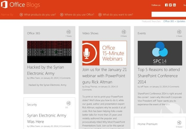 microsoft office syrian electronic army hacking office blog
