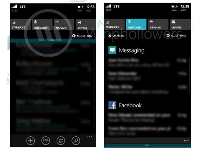 windows phone notification center