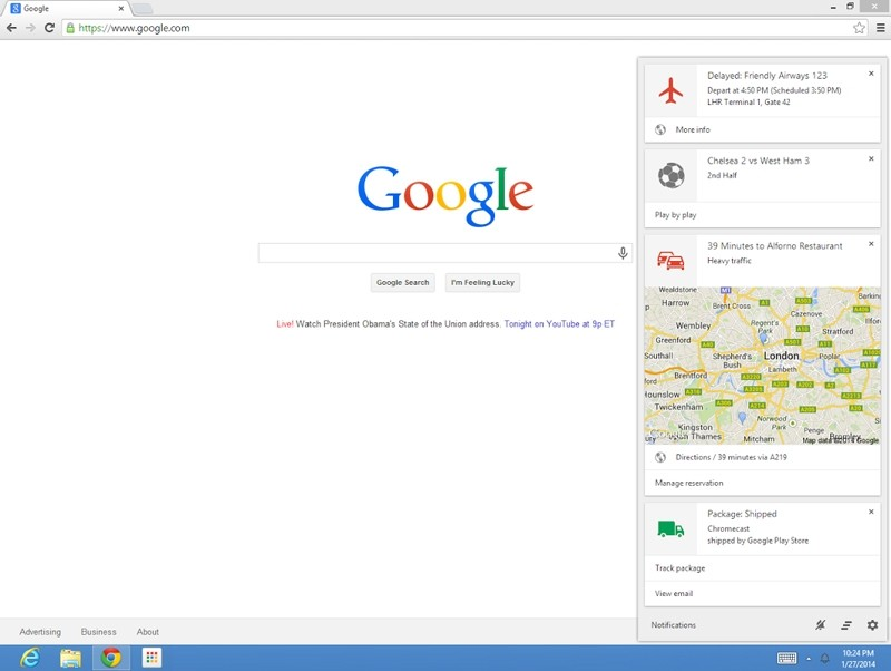 google chrome windows mac google now