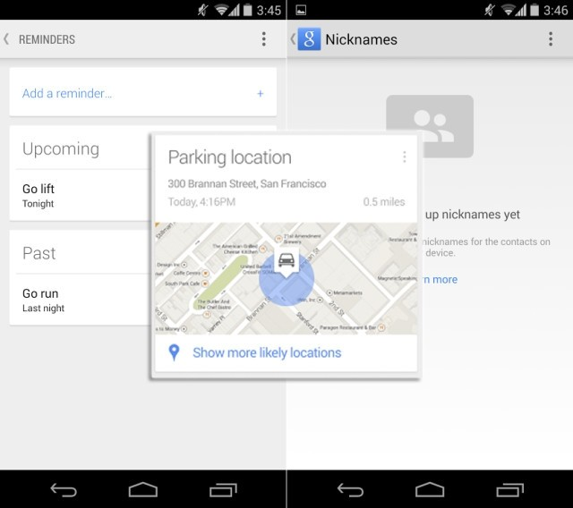google android update google now parking