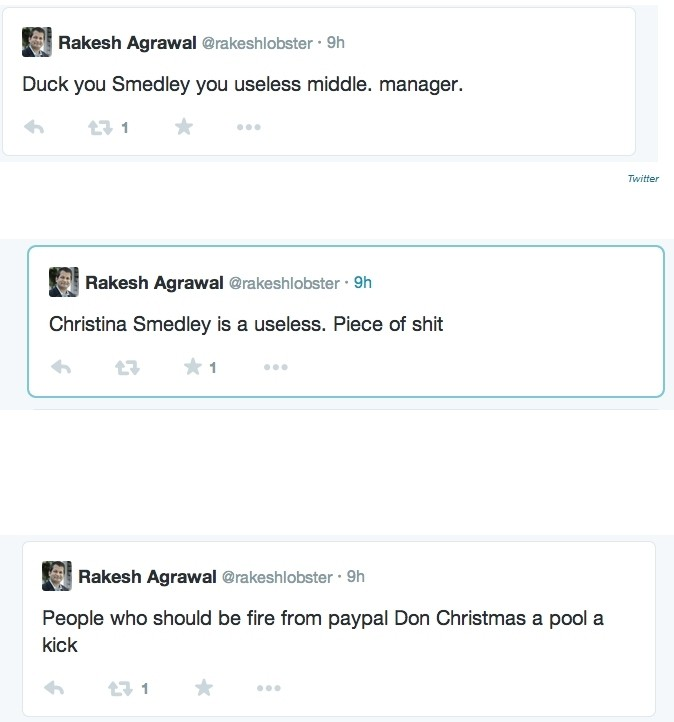 paypal strategy exec longer company sending inappropriate tweets twitter paypal tweets rakesh agrawal