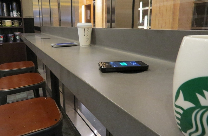 starbucks, smartphone, wireless charging, charging, powermat