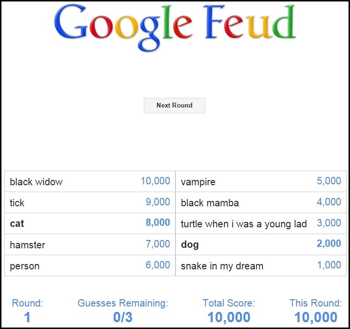 Google's auto-complete powers this Family Feud-style web game ...