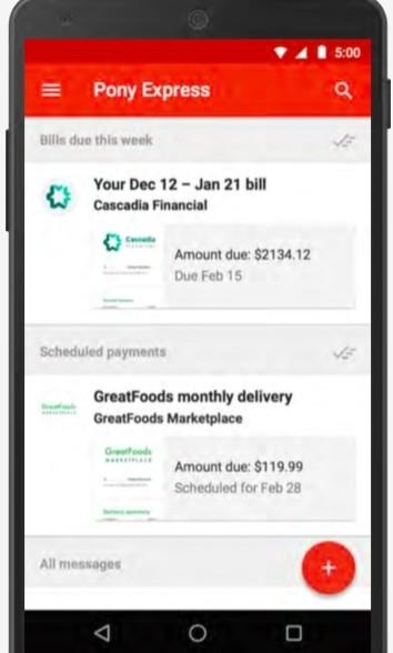google gmail e-mail bills pony express bill payment online bills paperless billing messenger app bill pay
