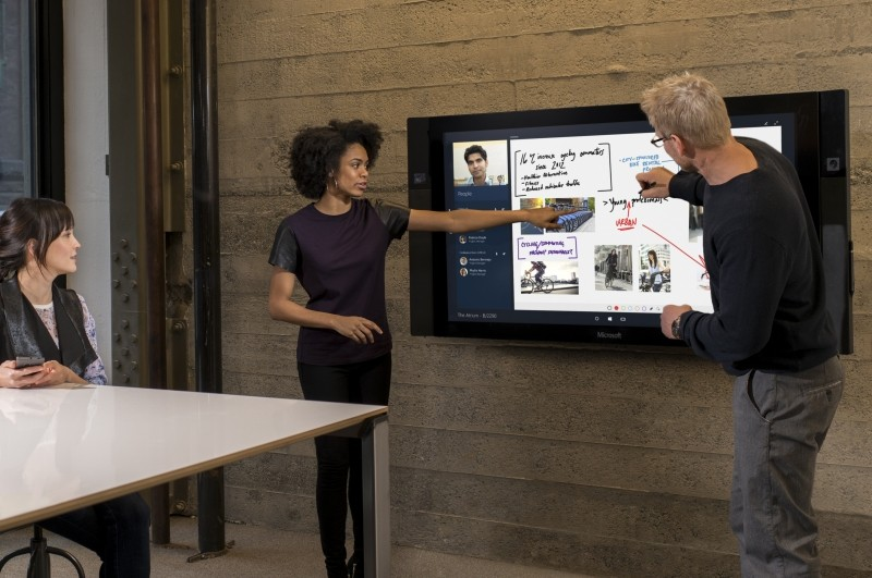 microsoft surface hub microsoft enterprise business conference surface hub conference room meetings perceptive pixel
