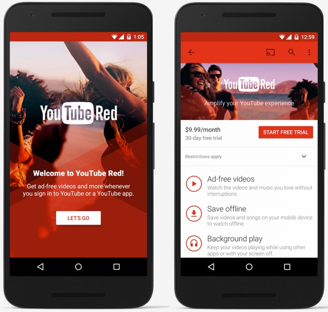 Youtube Red Ad Free Videos Offline Viewing Google Play Music Included For 9 99