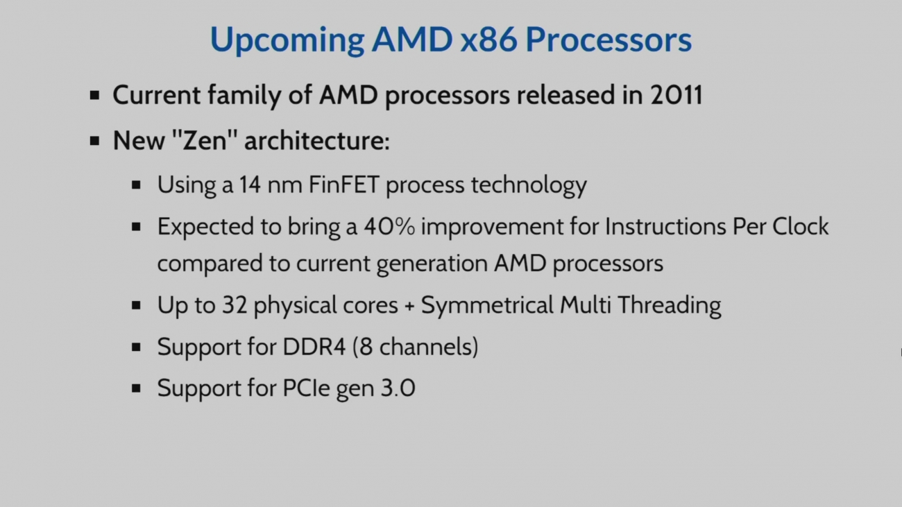 AMD's Zen CPUs to feature up to 32 cores and 8-channel DDR4