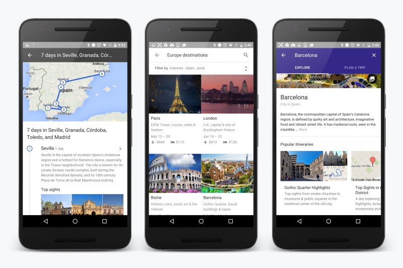google, destinations on google, mobile trip planner, vacation planner, destinations
