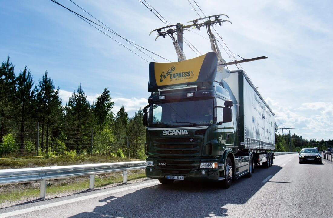 sweden, siemens, electric vehicles, overhead power lines, electric trucks, hybrid vehicles, scania, electric roads, eroads, electric highways