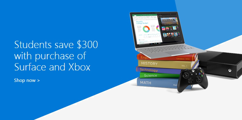 microsoft, xbox, bundle, education, sale, students, gaming console, xbox one, surface pro 4, student, deal