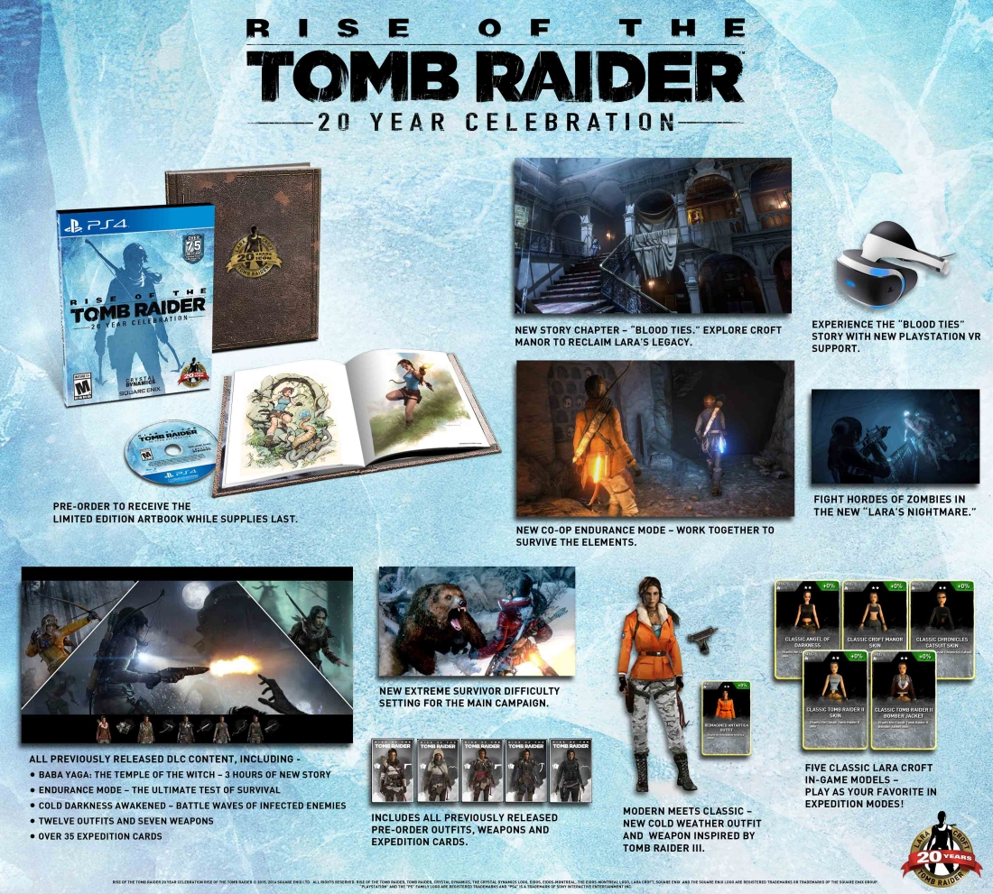 ps4, tomb raider, virtual reality, playstation 4, crystal dynamics, collectors edition, rise of the tomb raider, playstation vr