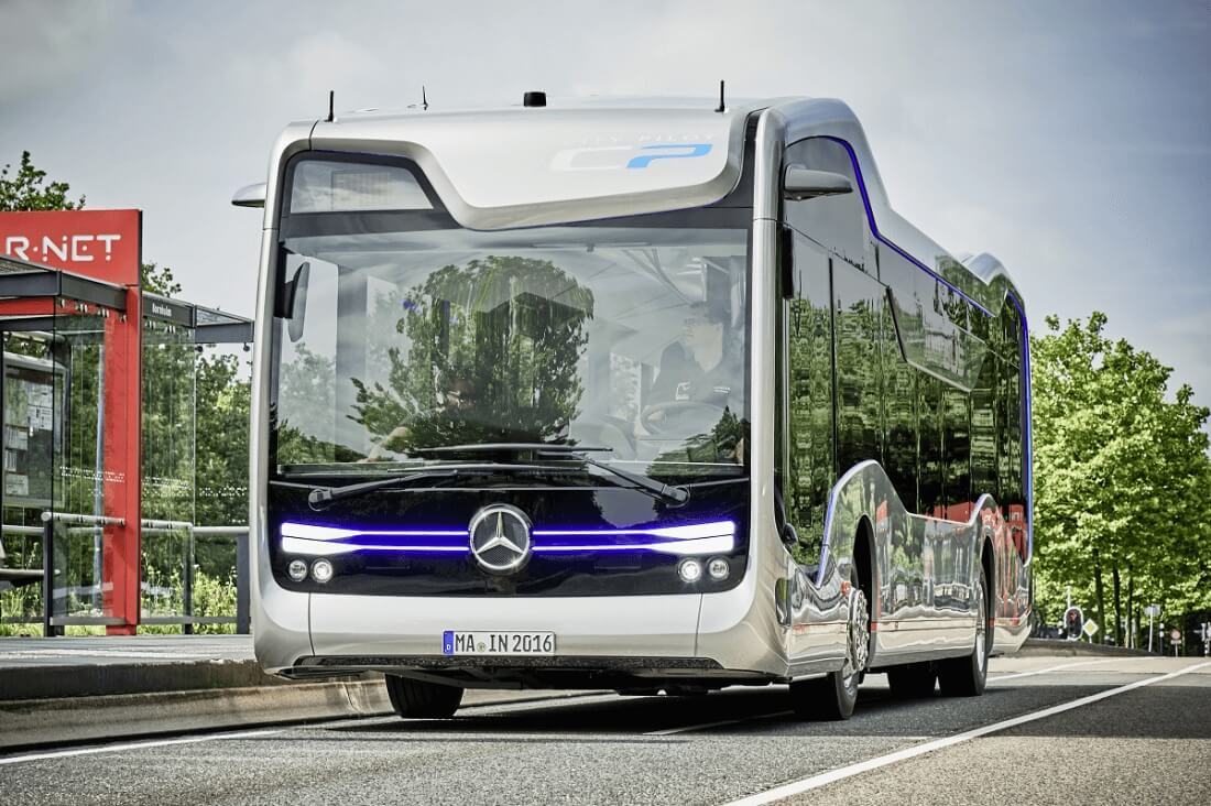 mercedes-benz, public transit, daimler, autonomous vehicle, amsterdam, self-driving bus, future bus, citypilot, highway pilot, public transport