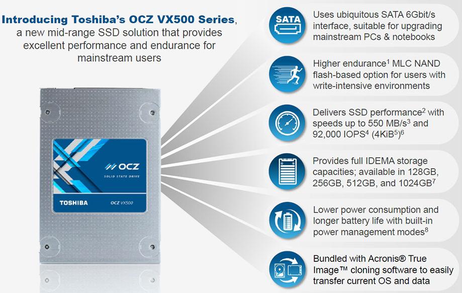 toshiba, storage, ssd, ocz, mlc, mlc nand, flash memory, acronis true image, vx500, ocz vx500