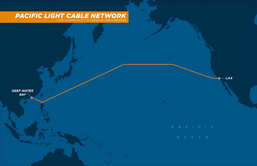 google, facebook, hong kong, fiber optic cable, pacific light cable network