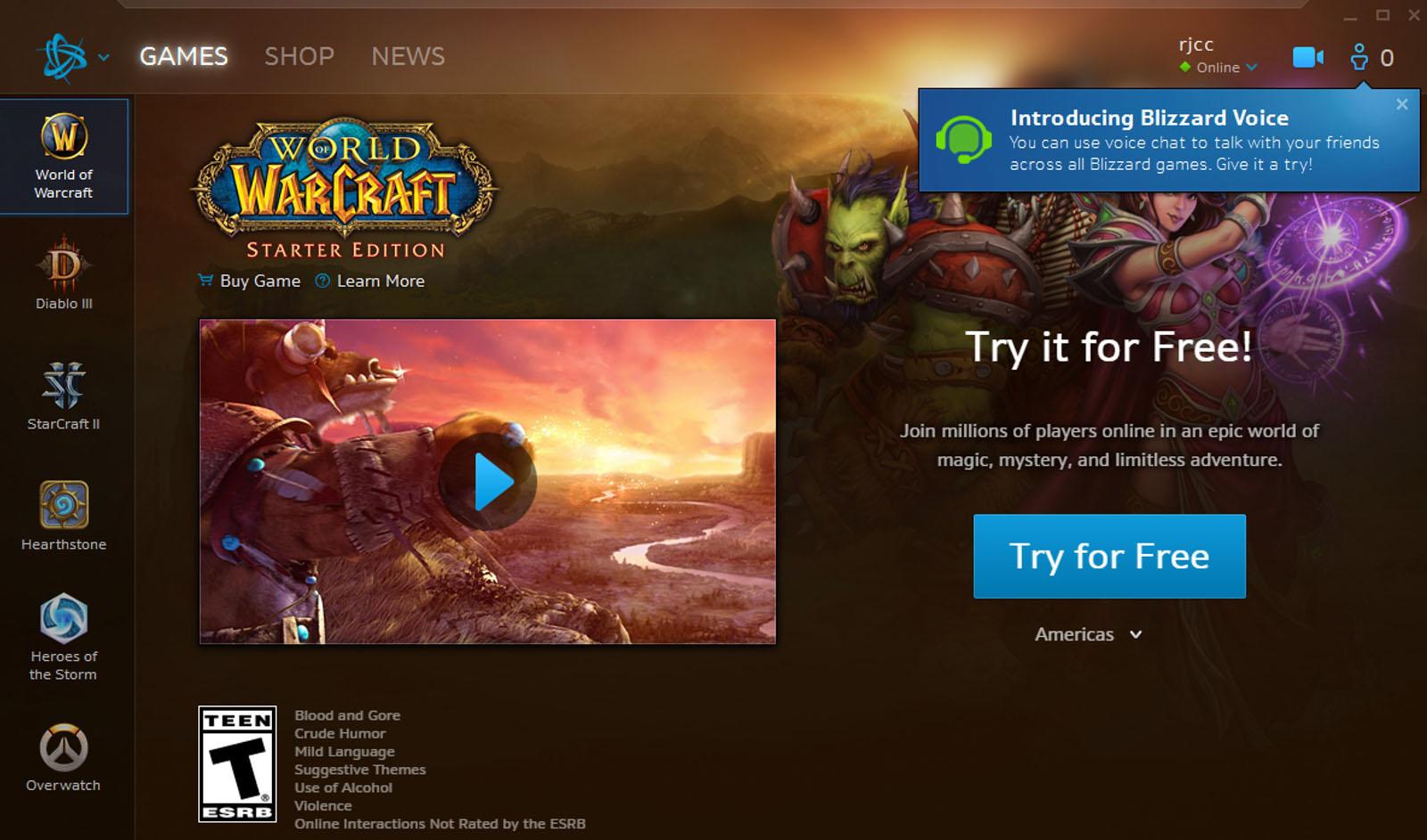 Blizzard live chat