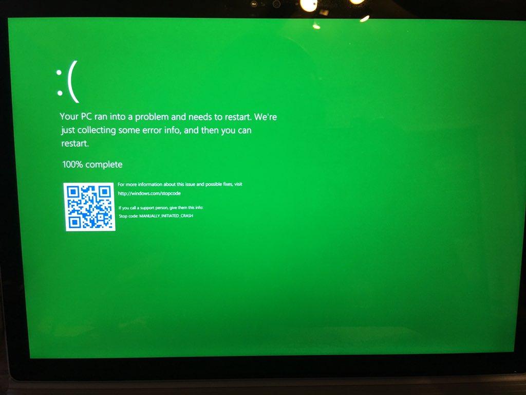 microsoft, blue screen of death, windows 10, windows insiders, green screen of death
