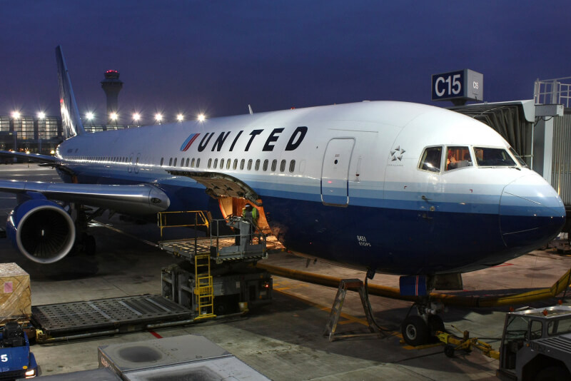 airplane, air travel, united airlines