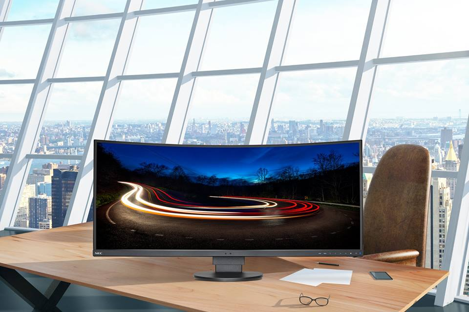 nec, monitor, curved display, nec multisync ex431r-bk
