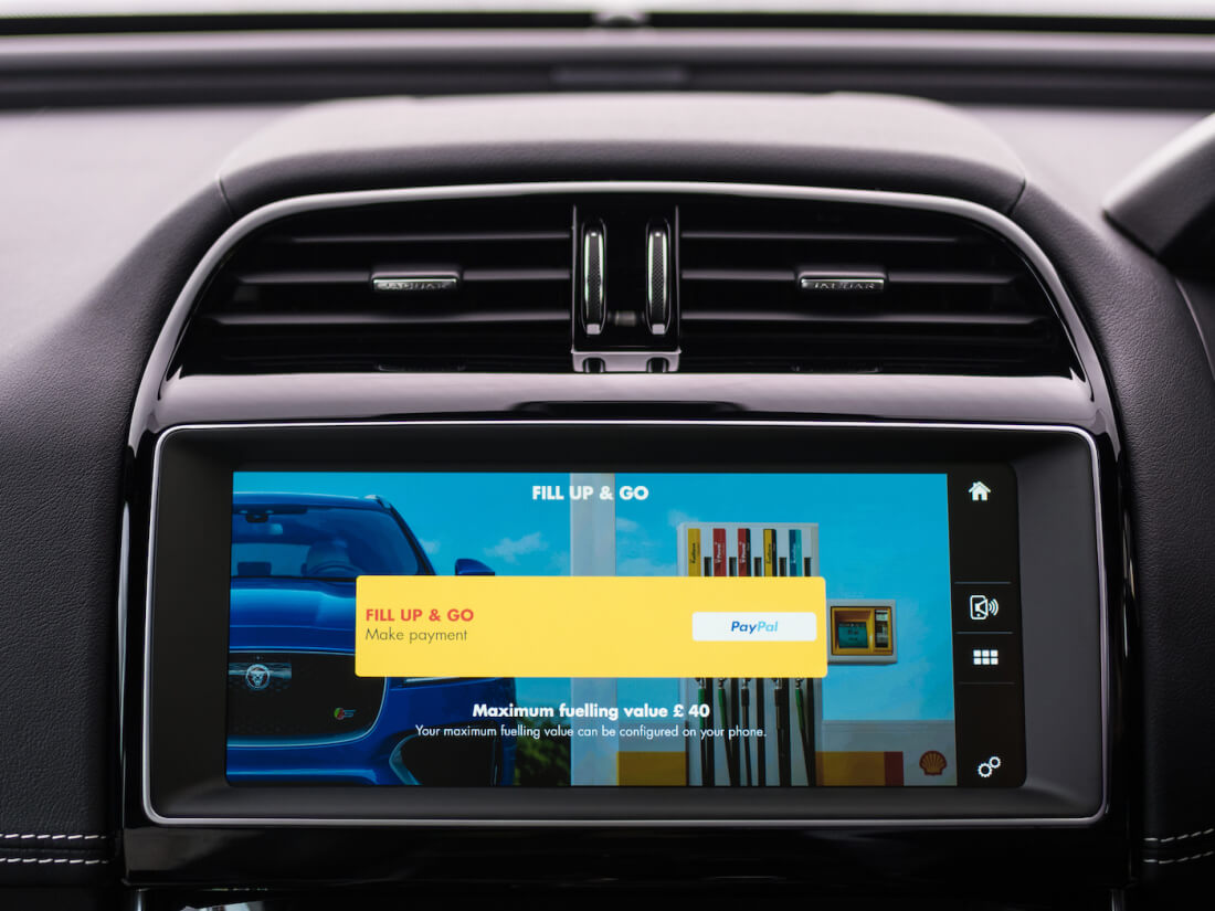 jaguar, infotainment system, payments system, shell
