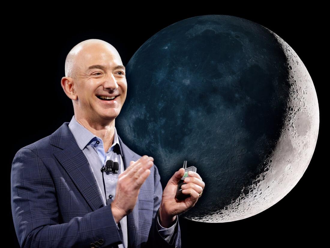 amazon, jeff bezos, spacex, blue origin, moon, blue moon