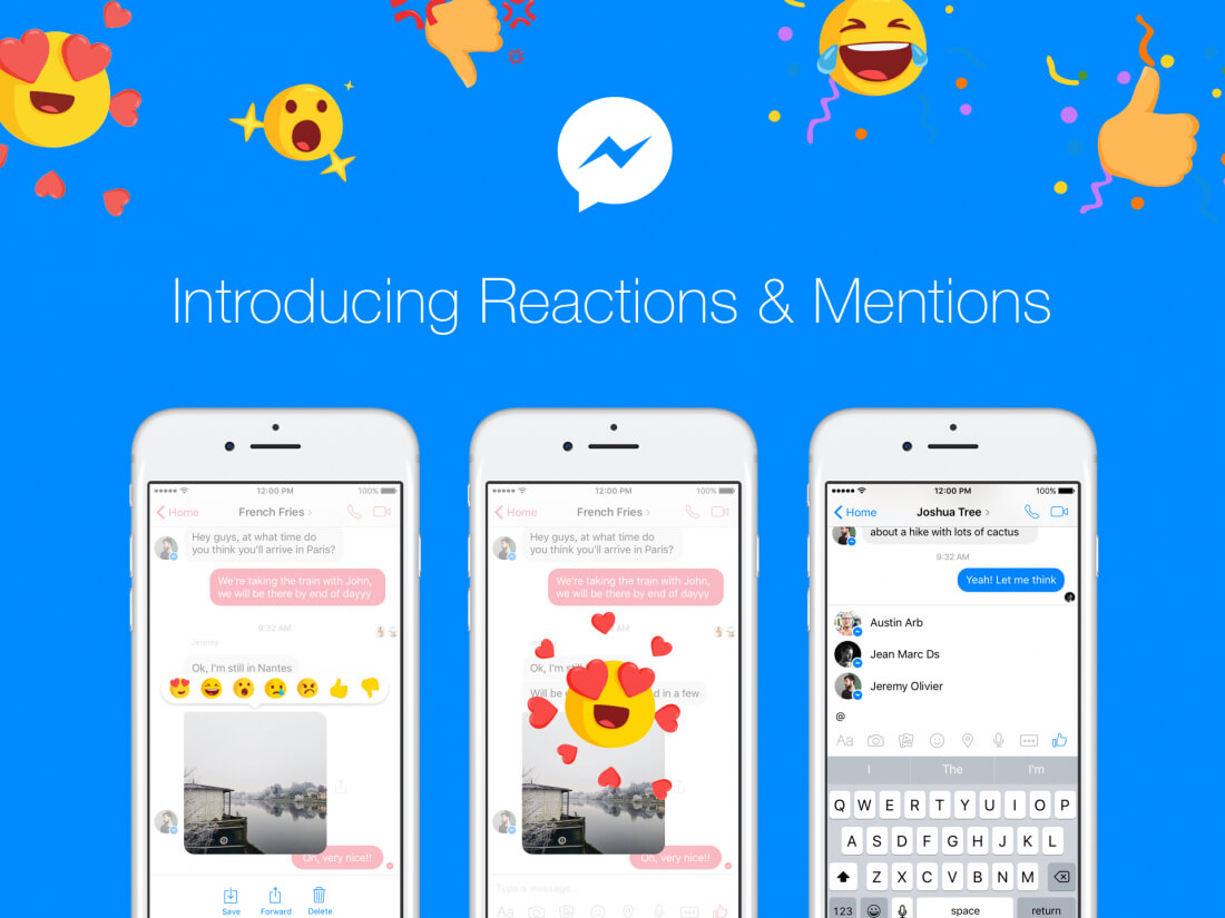facebook, messenger, reactions, mentions