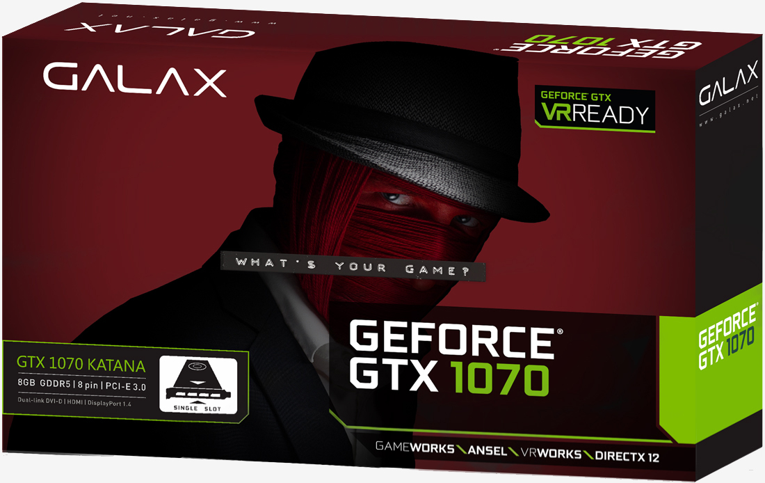 graphics card, galax, gtx 1070 katana