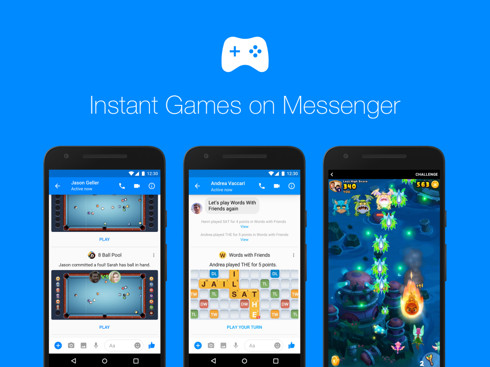 facebook, messenger, mobile gaming, instant games