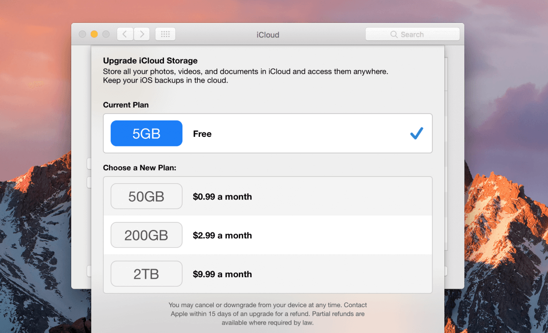 how to cancel icloud storage plan on pc