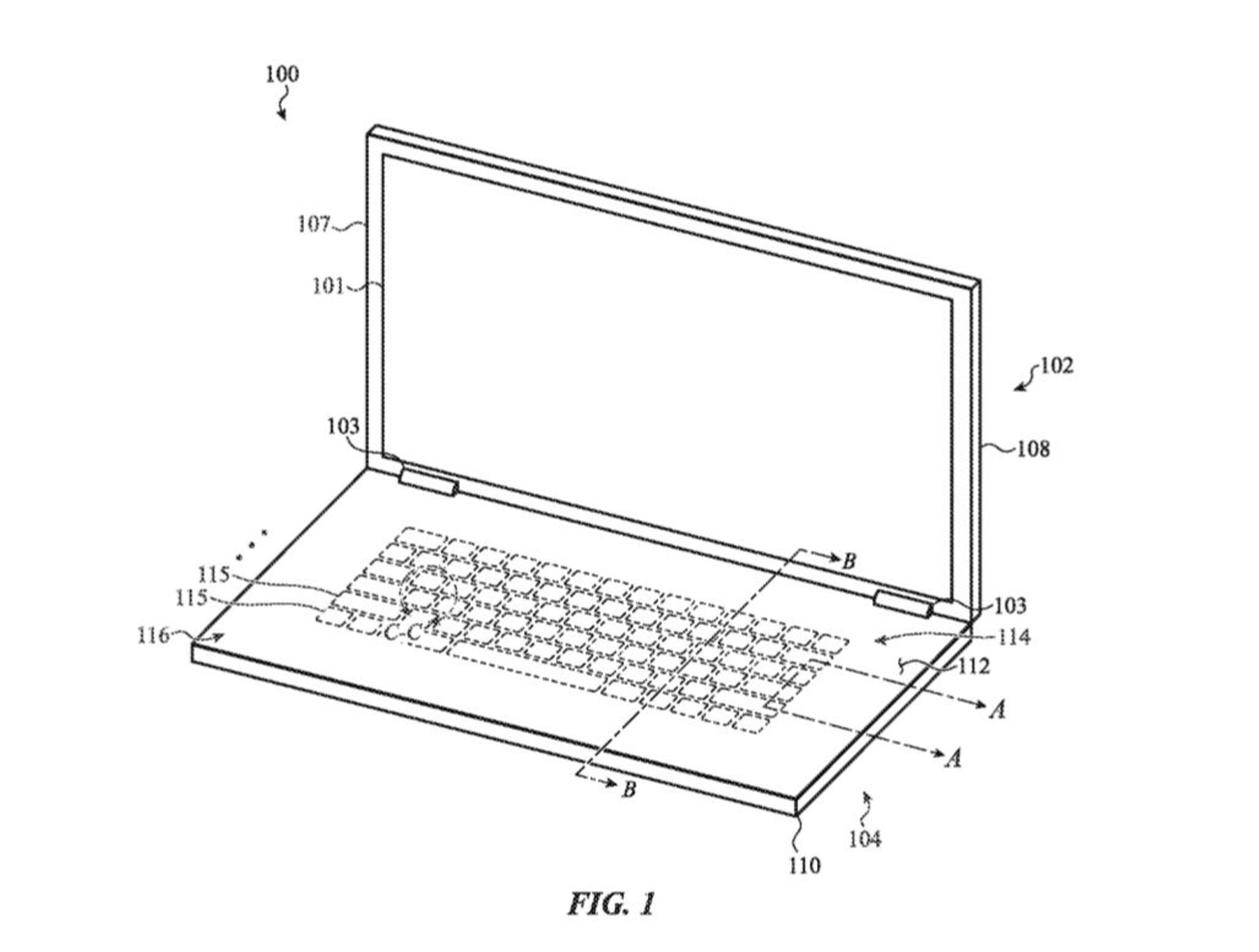 apple patents macbook with key switches underneath a