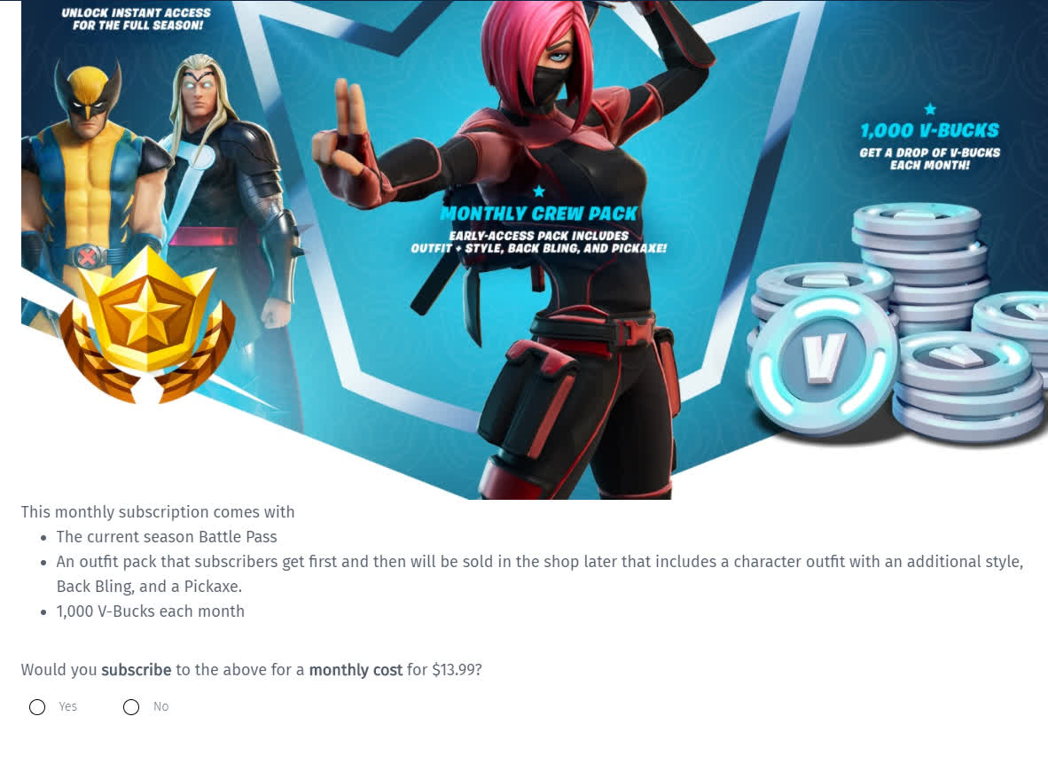 epic is asking fortnite players if they re interested in a monthly subscription epic is asking fortnite players if they