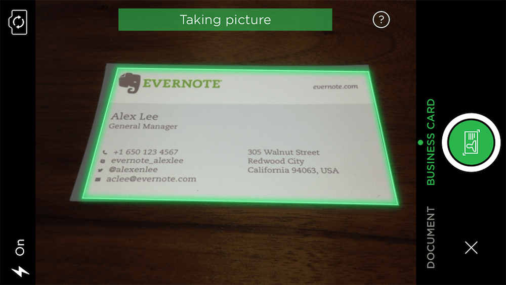linkedin, evernote, business card
