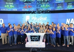 PayPal makes its second debut on the Nasdaq, valued at more than $50 billion